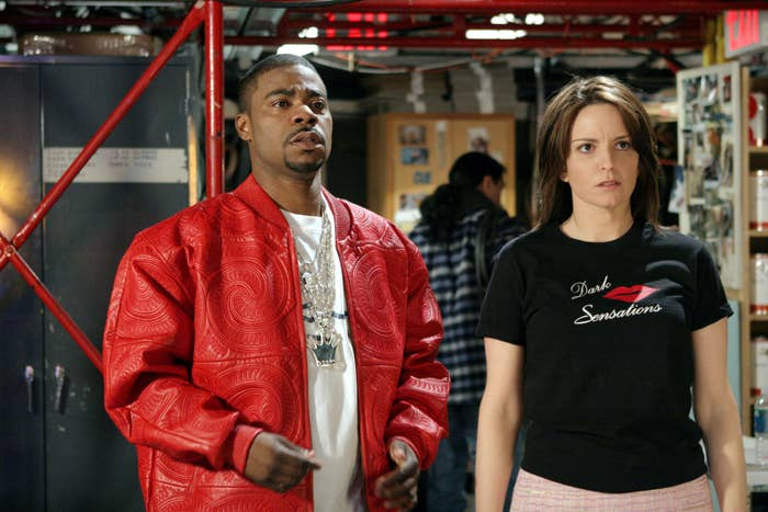 Tracy Morgan and Tina Fey on the set of 30 Rock