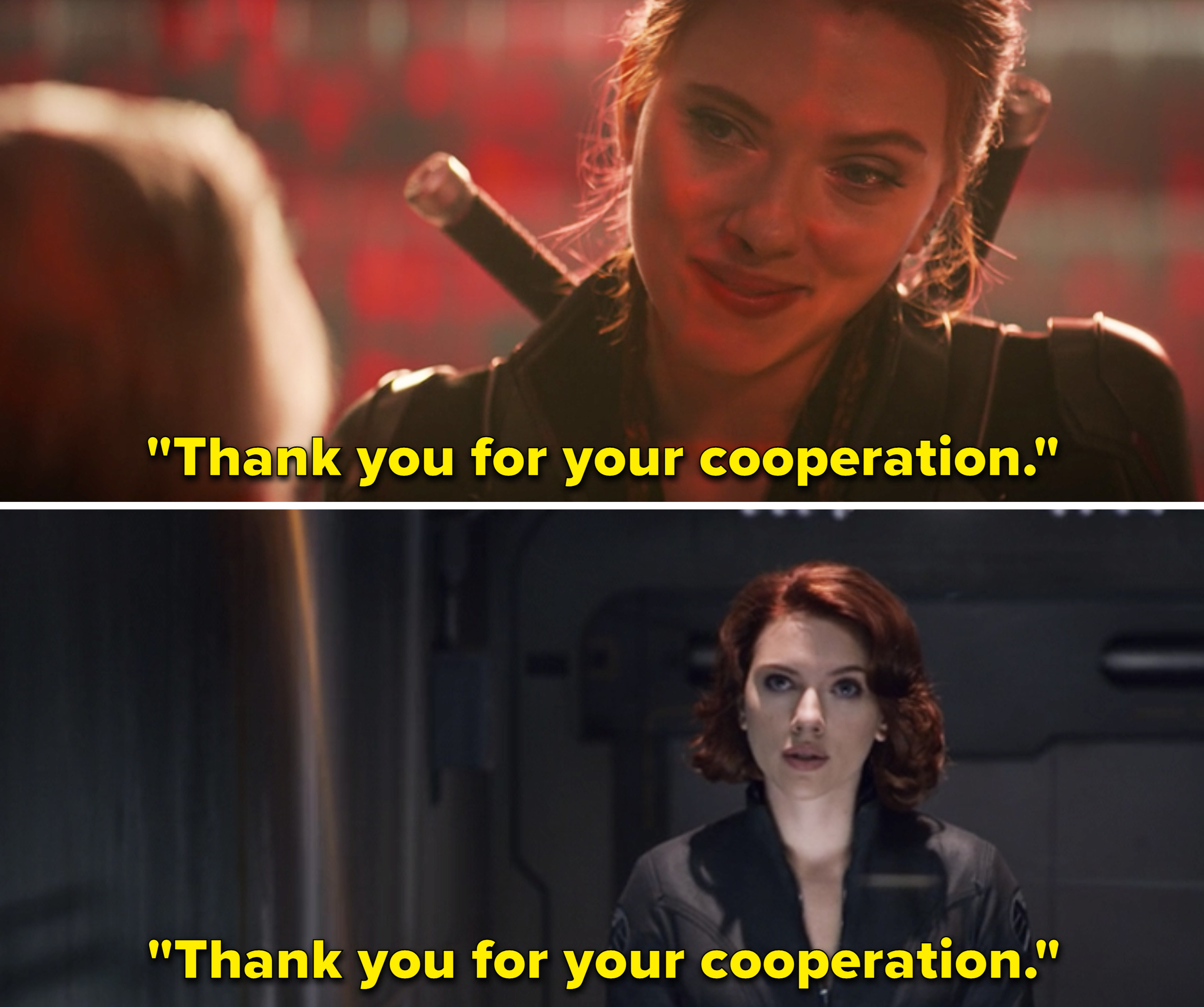 """Natasha saying, """"Thank you for your cooperation"""" in Black Widow vs. in The Avengers"""