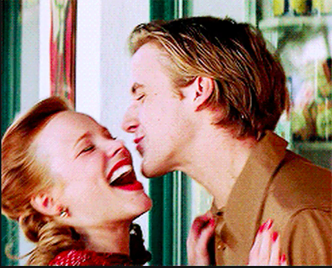 """Noah and Allie from """"The Notebook"""" kissing and laughing"""