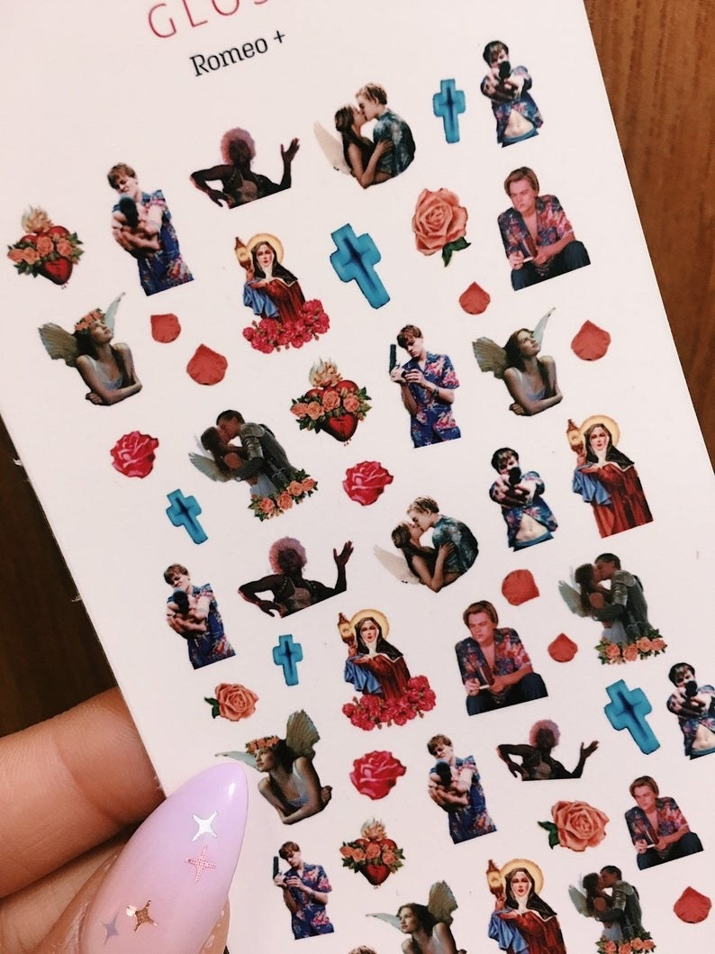 a sheet of various stickers depicting scenes from the movie Romeo + Juliet