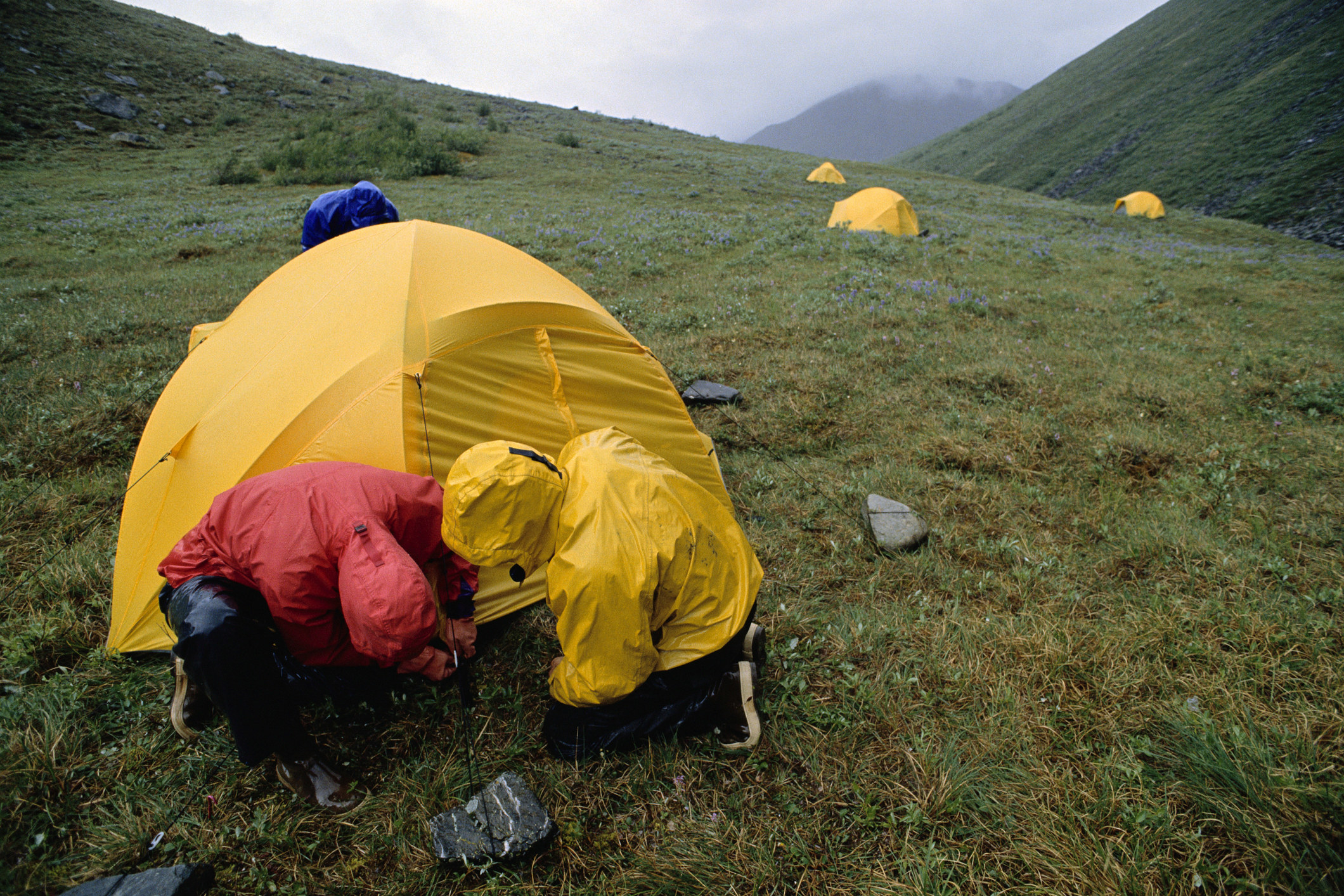 Two people pitching a tent in the rain.
