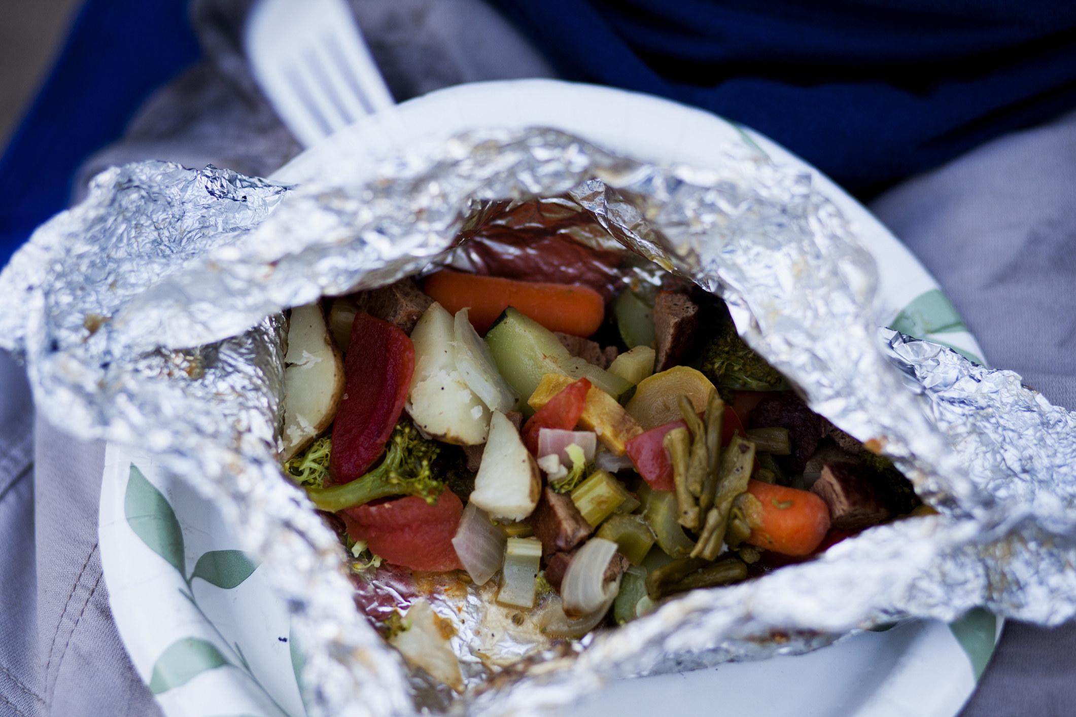 Vegetables in a foil packet.