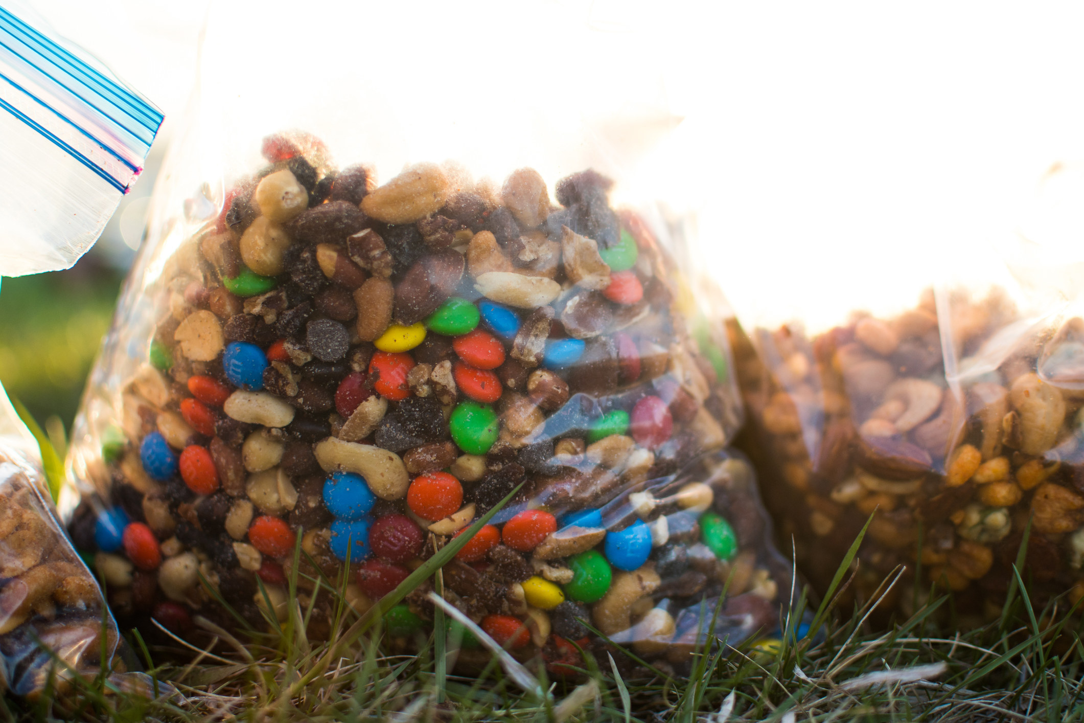 Two big bags of trail mix and nuts.
