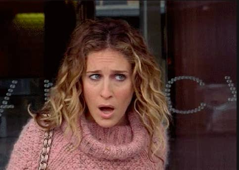 """Carrie Bradshaw looking shocked in """"Sex and the City"""""""