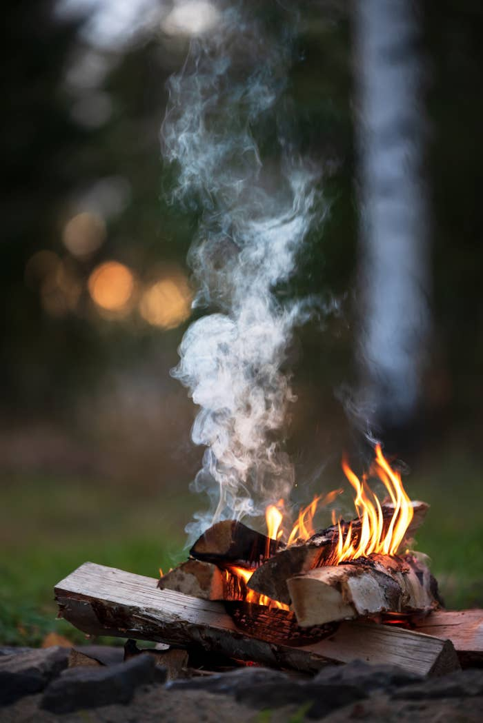 A lit campfire.