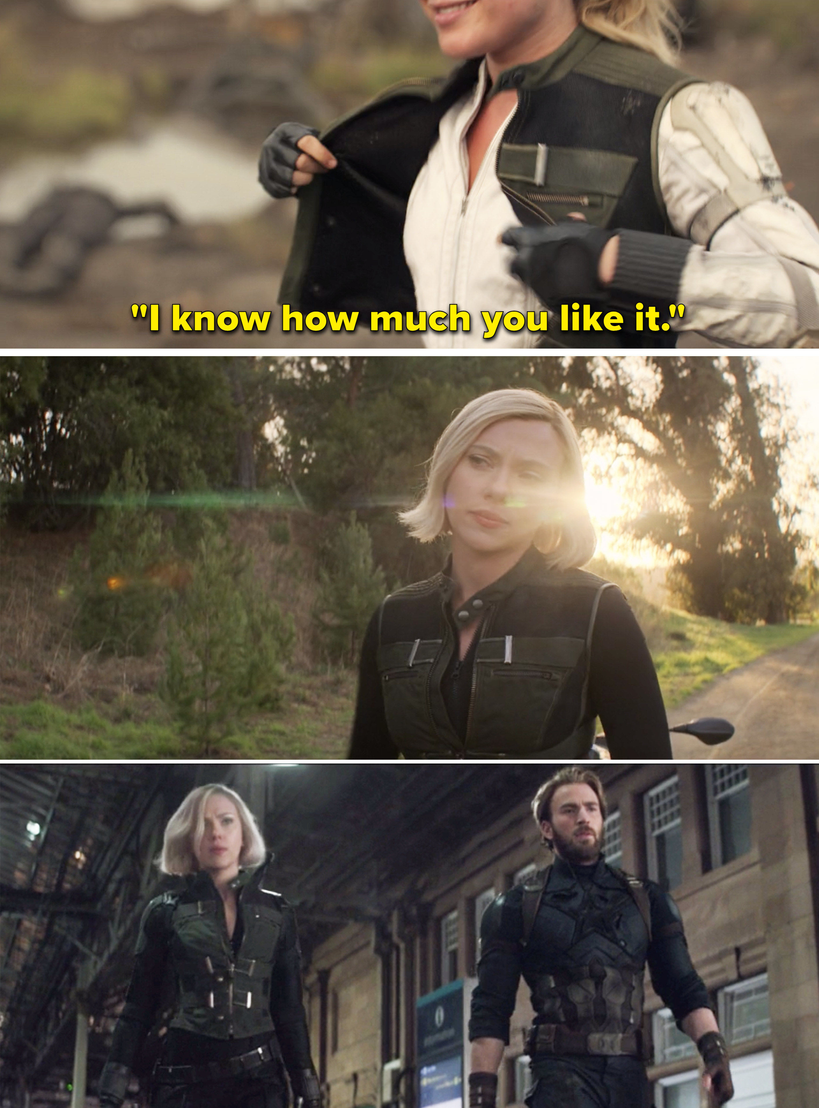 "Yelena saying, ""I know how much you like it"" vs. Natasha wearing her vest"