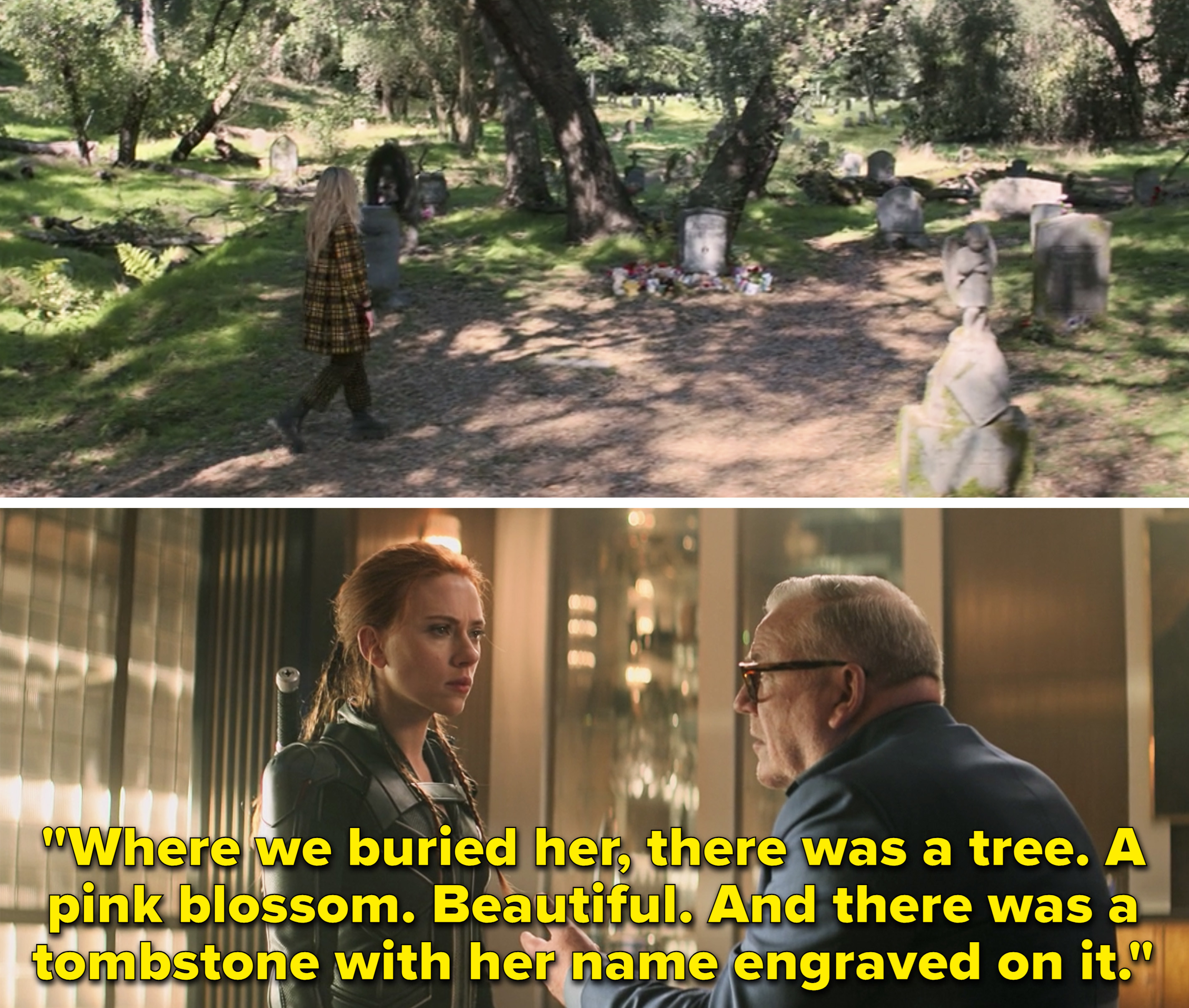 """Natasha's grave vs. Dreykov saying, """"Where we buried her, there was a tree. A pink blossom. Beautiful. And there was a tombstone with her name engraved on it"""""""