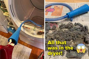 left image: reviewer cleaning out lint in dryer, right image: dryer air vent cleaner