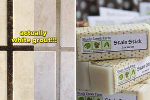 a before and after of a reviewer's dirty and then clean grout; a stain removing stick