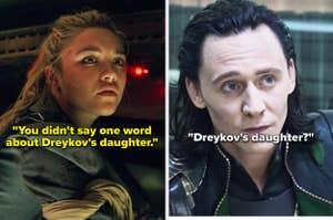 Yelena and Loki talking about Dreykov's daughter