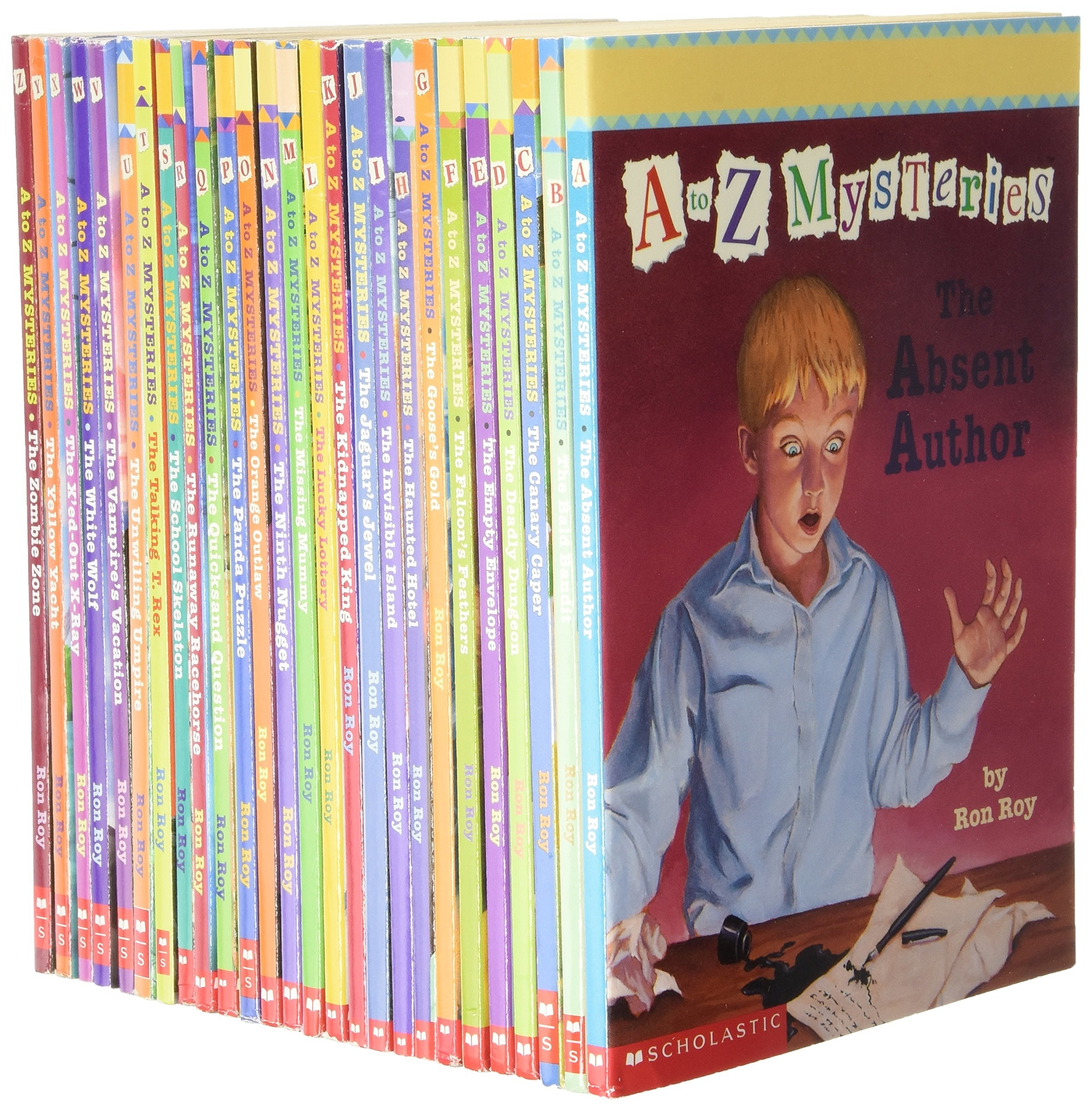 Collection of A-Z mysteries, thin books in a vertical stack