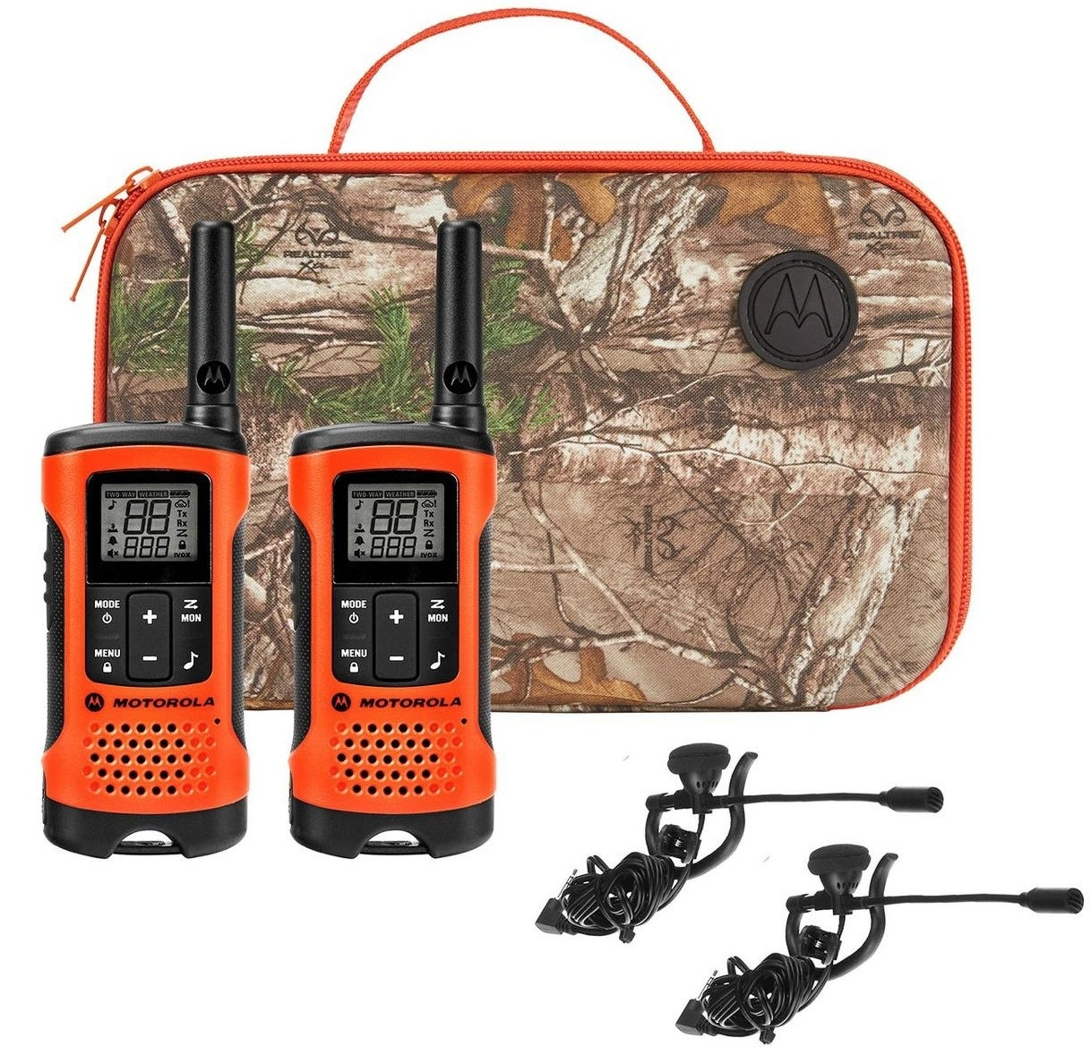 the two orange radios, with a camo carrying case