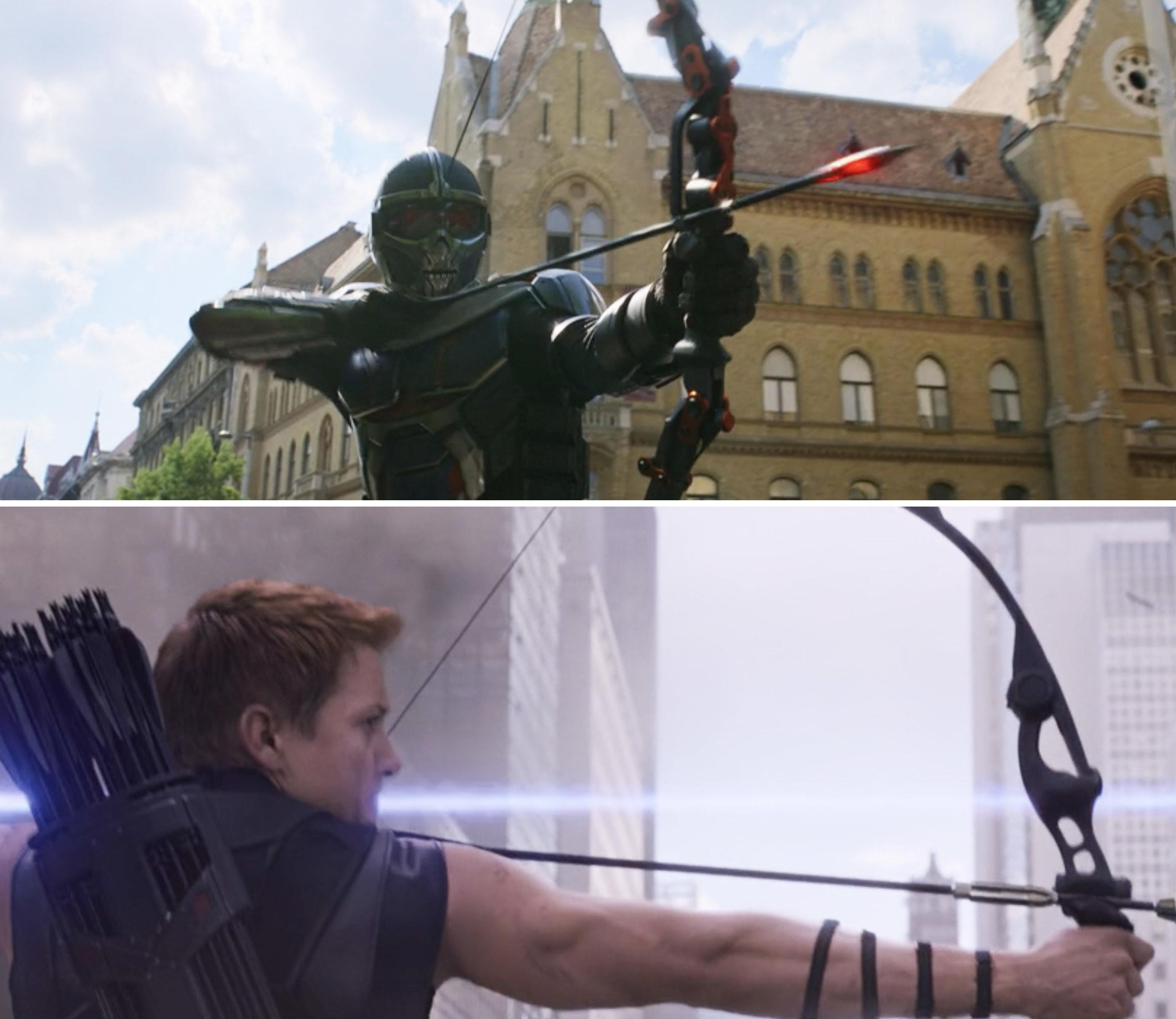 Taskmaster shooting an arrow vs. Clint shooting one