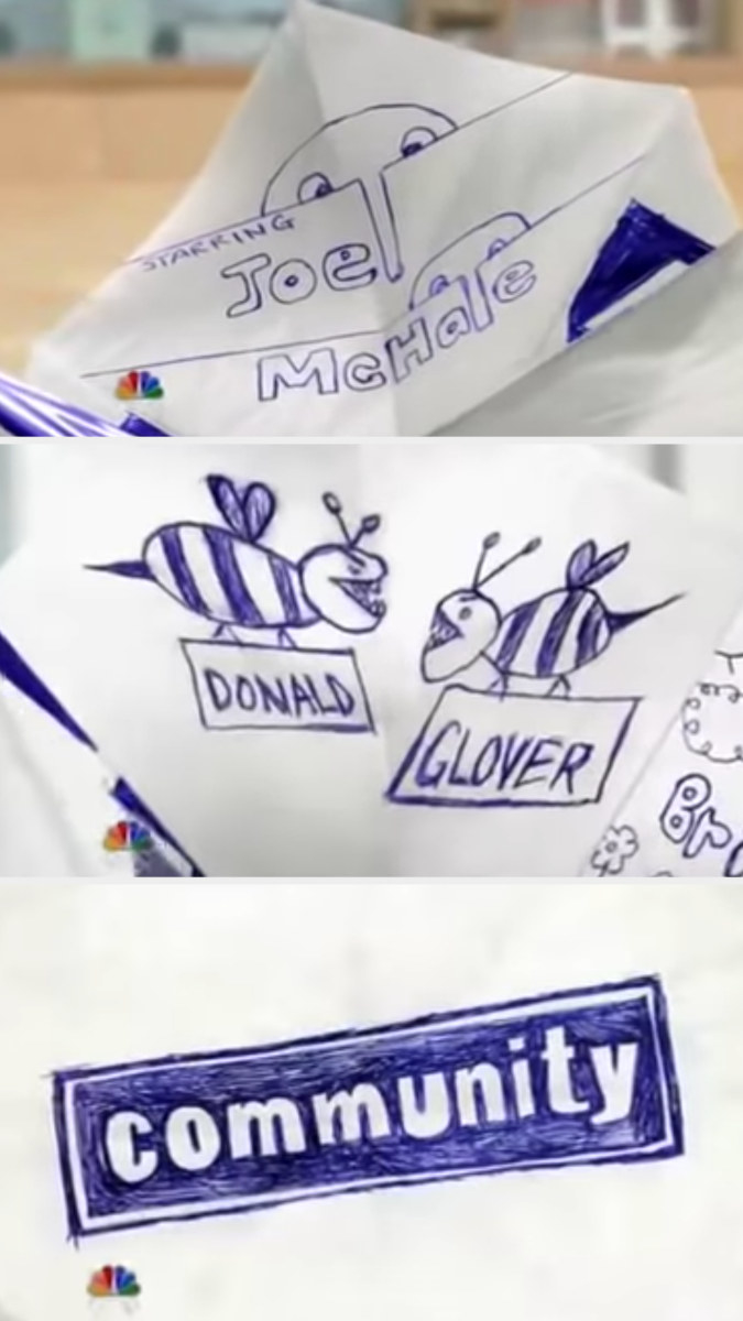 Joel McHale and Donald Glover's credits for the Community opening