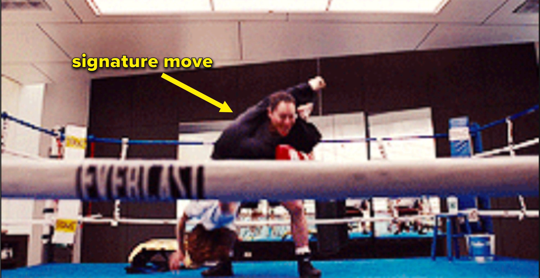 Natasha performing her signature fight move