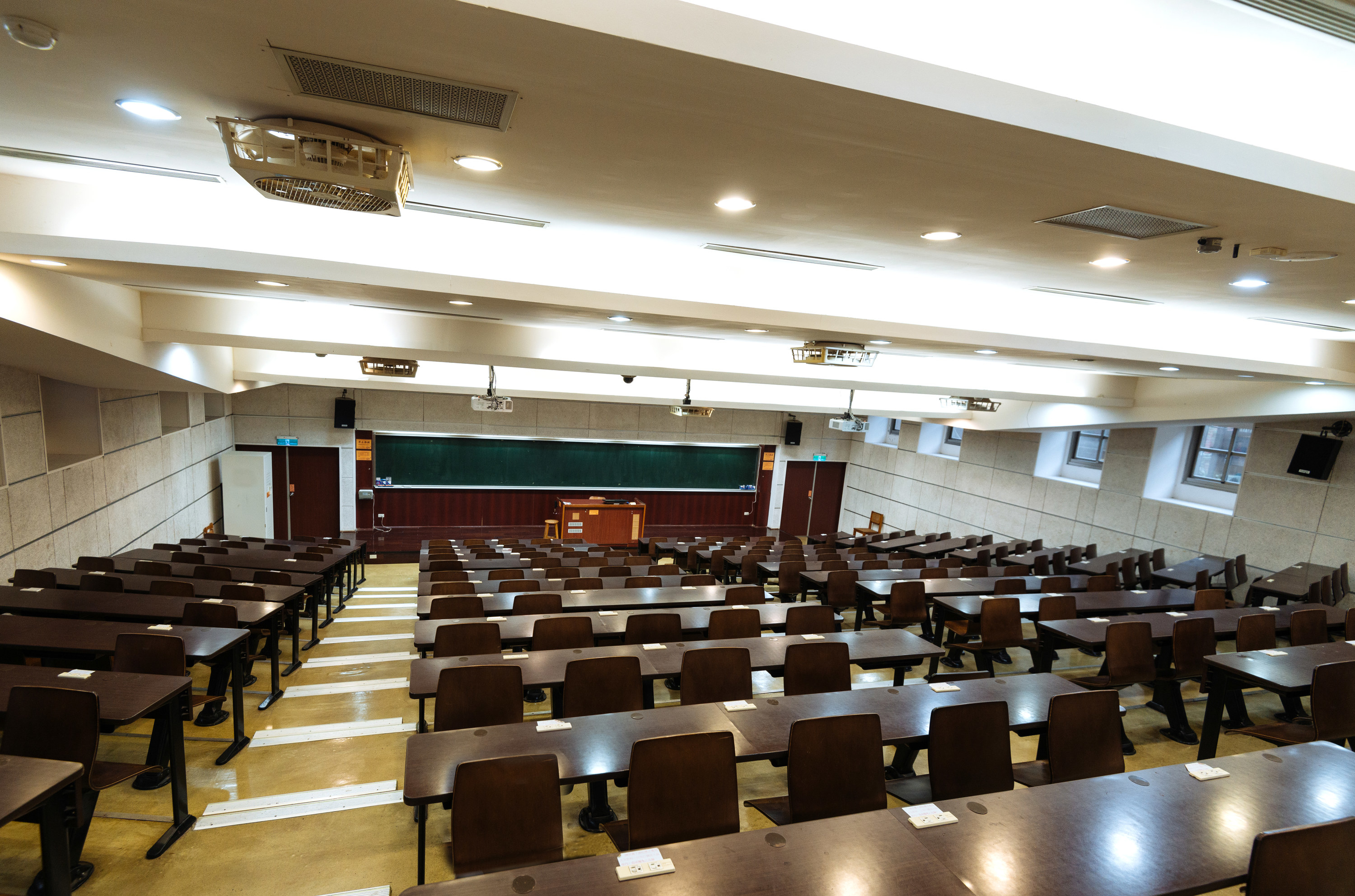An empty college classroom