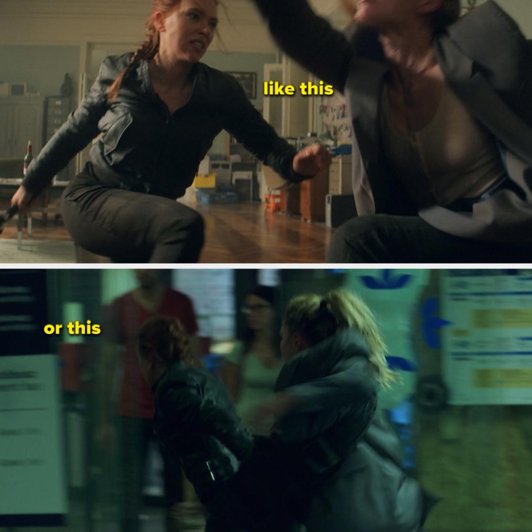 Natasha fighting Yelena, and Yelena and Natasha running from a bad guy