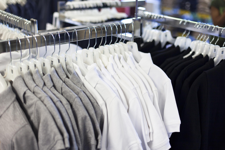 Racks of student uniforms