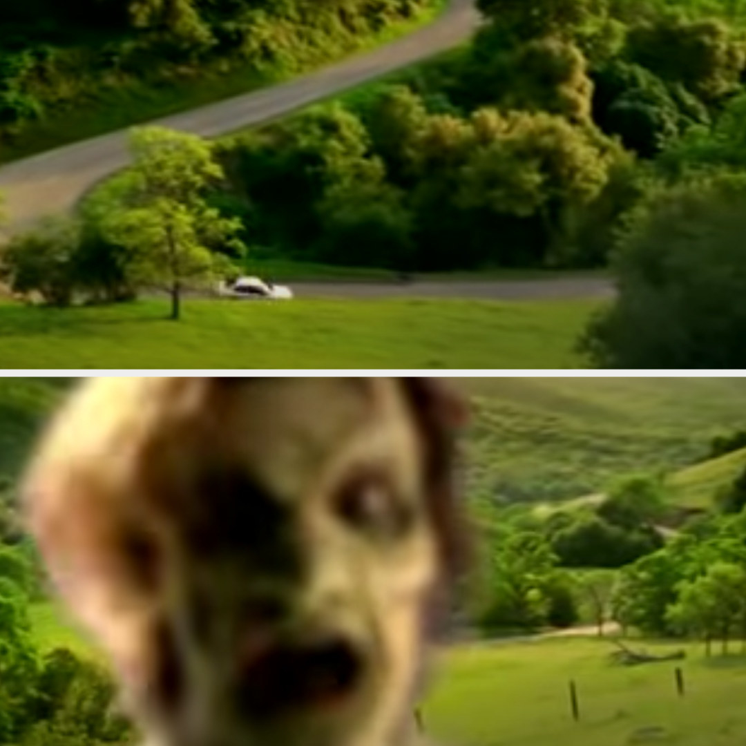A car is driving on the countryside, then a zombie face pops up