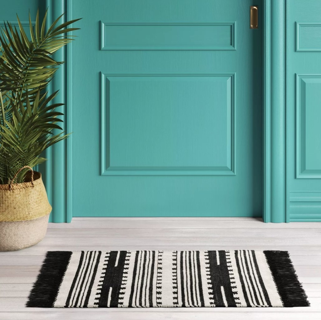 the black and white striped woven rug