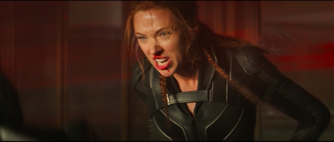 Black Widow with a bloody nose in a fight