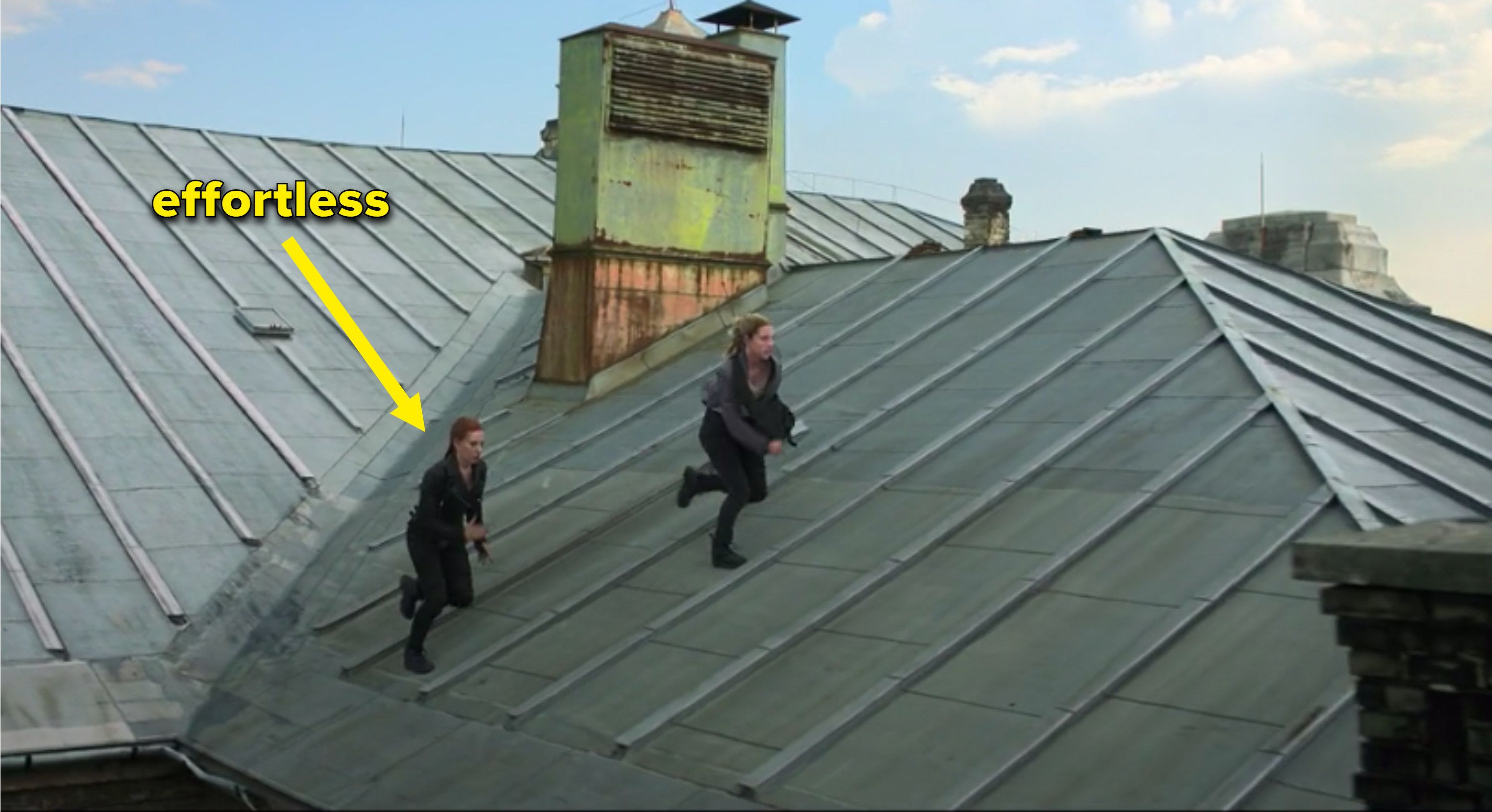 Black widow and Yelena running on the roof