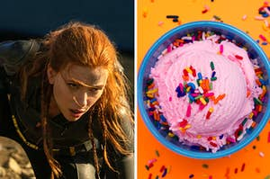 Black Widow is on the left kneeling with a bowl of strawberry ice cream on the right