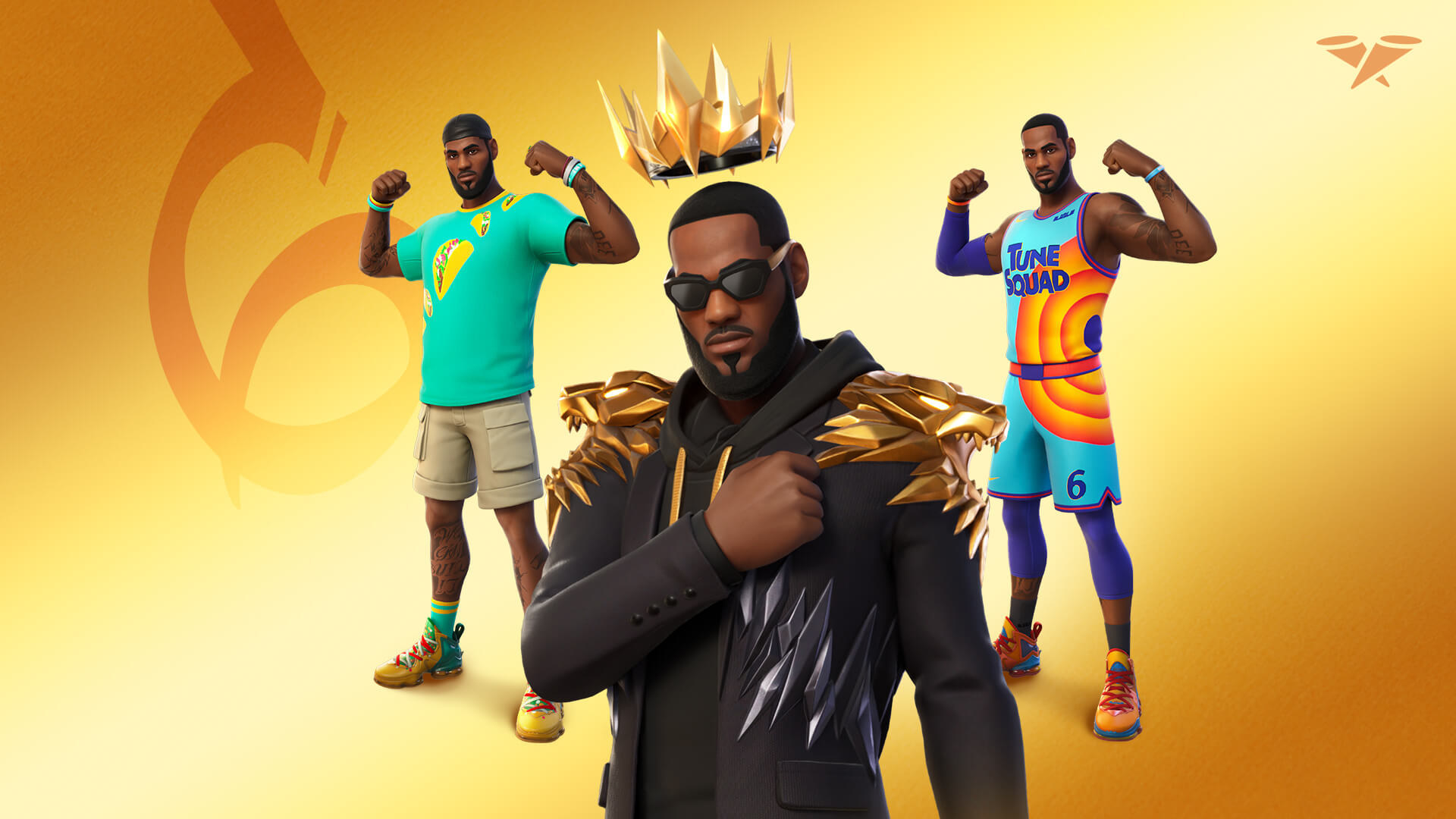 LeBron James poses in three different outfits as part of the King James bundle on Fortnite