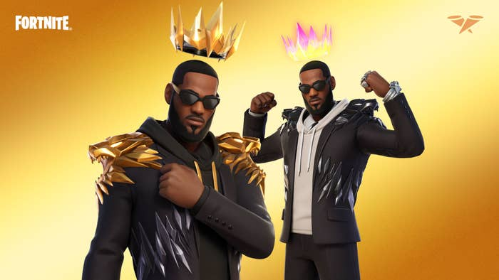 LeBron James is seen in two unique black outfits, with sunglasses, a floating crown and back bling, all of which are part of his Fortnite bundle