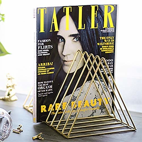 A golden magazine organiser on a table with a magazine in it