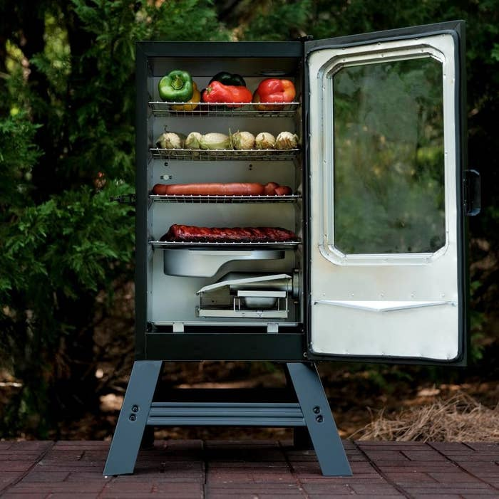 An image of a black electric smoker