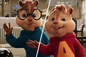 Simon and Alvin both have a hand up to wave to the camera as they vlog their day