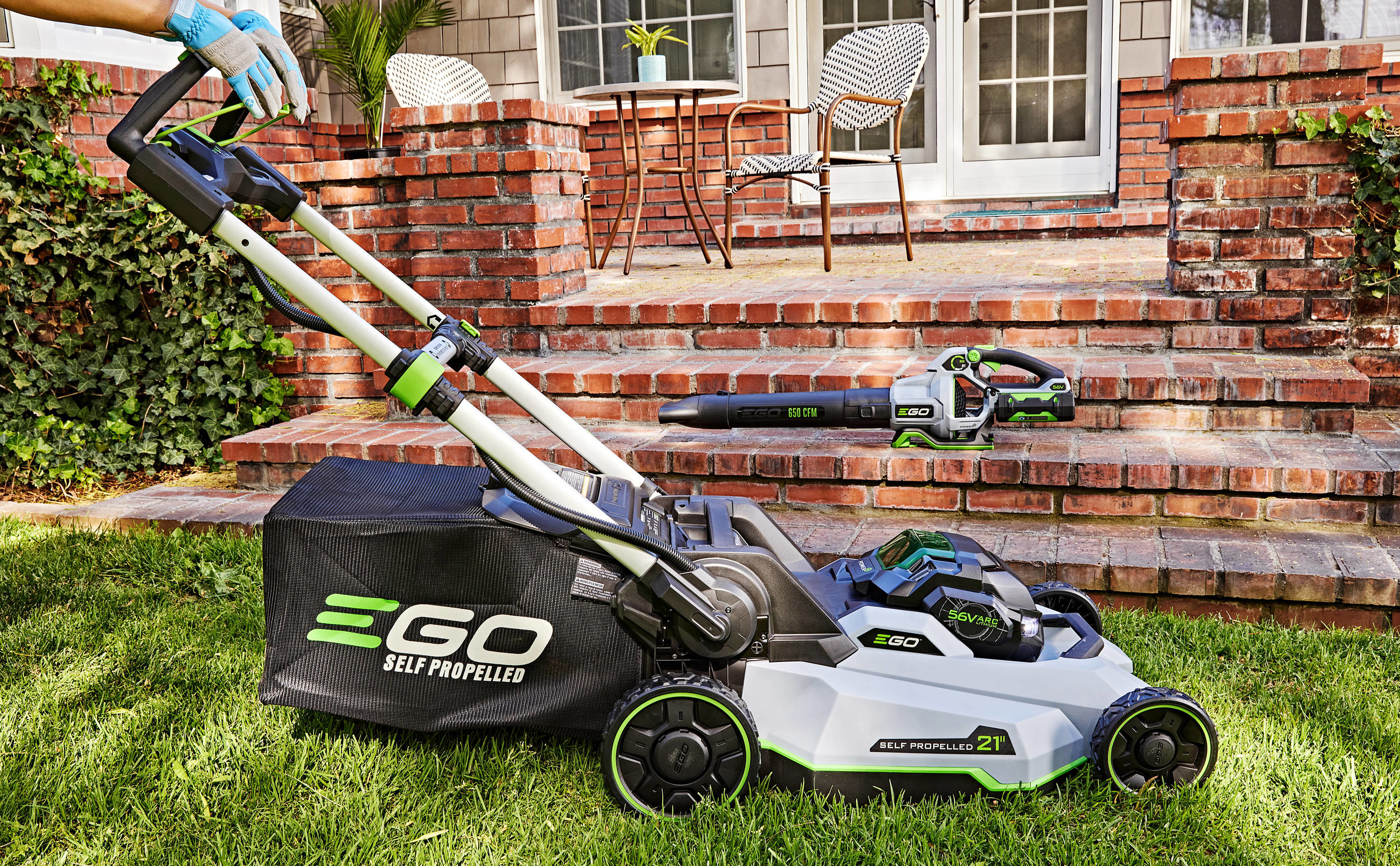 An image of a cordless electric lawnmower