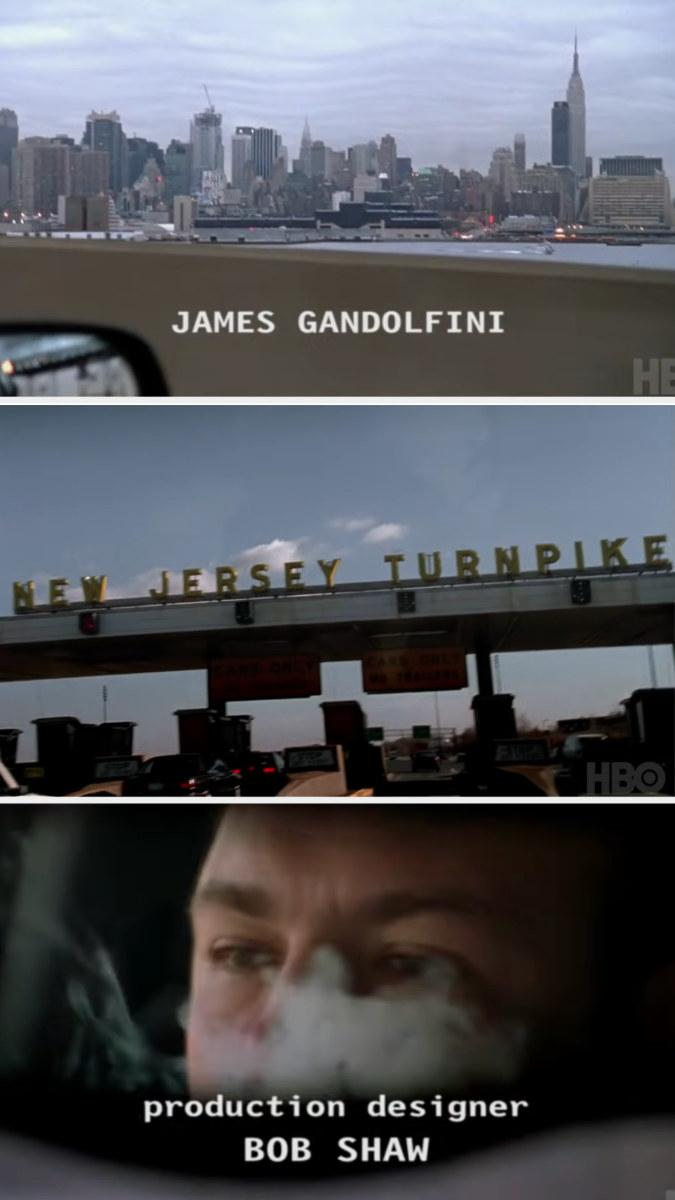 The Manhattan skyline, New Jersey turnpike, and James Gandolfini smoking a cigar while driving