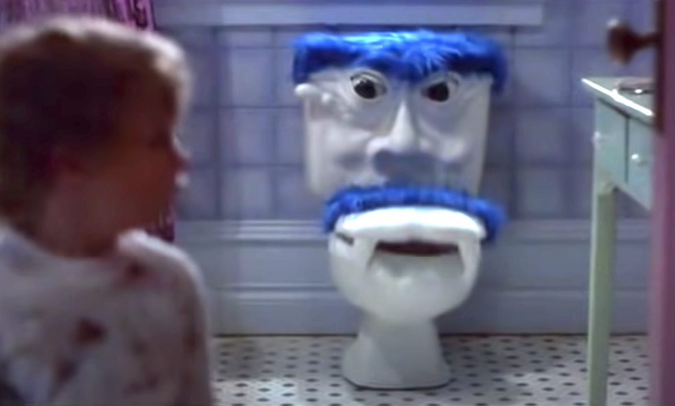 The toilet with a face and fangs