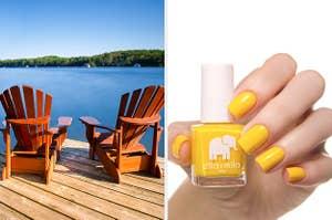 Split frame of chairs on a lake deck and ella + mila nail polish.