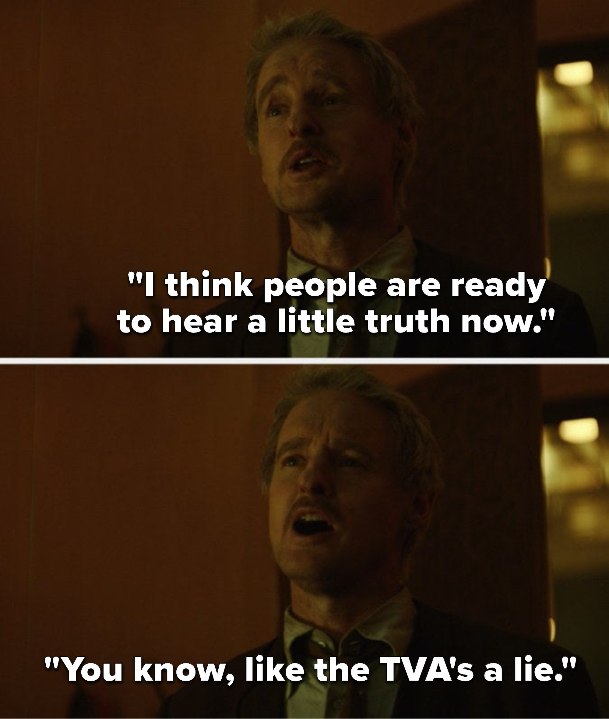 """Mobius says, """"I think people are ready to hear a little truth now, you know, like the TVA's a lie"""""""