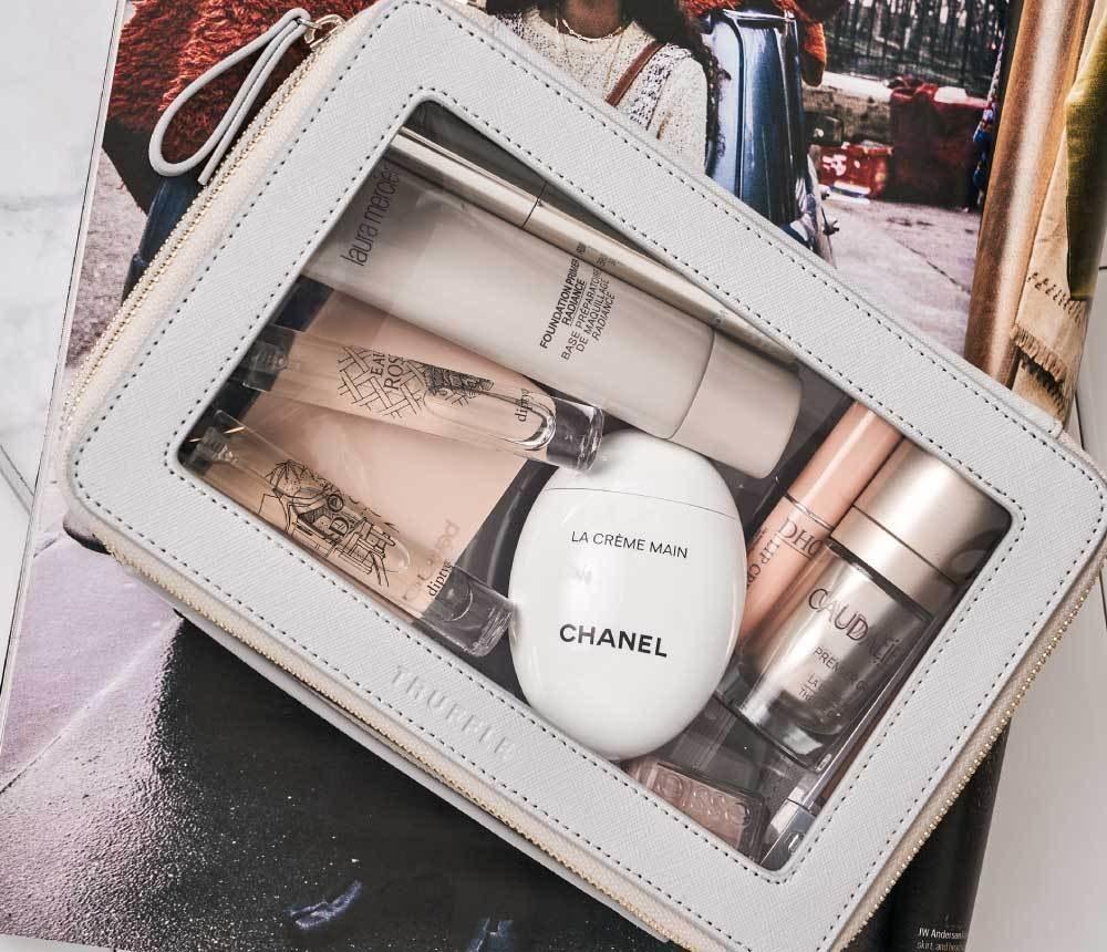 makeup inside grey case