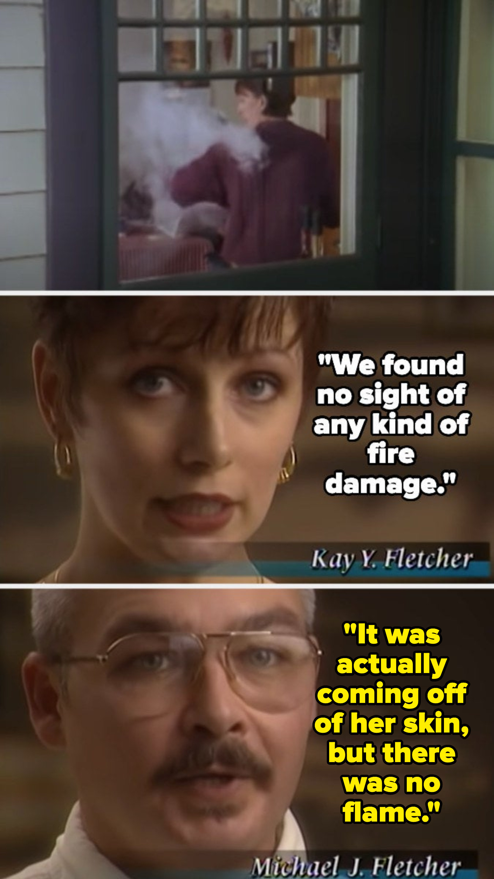 Kay and Michael Fletcher talking about smoke coming from her body with no flame while we see a reenactment