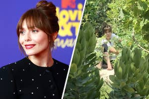 Elizabeth Olsen is pictured smiling at an event and sitting in a garden in this split image