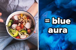 """A man is holding a salad on the left with a label that reads """"= blue aura"""""""