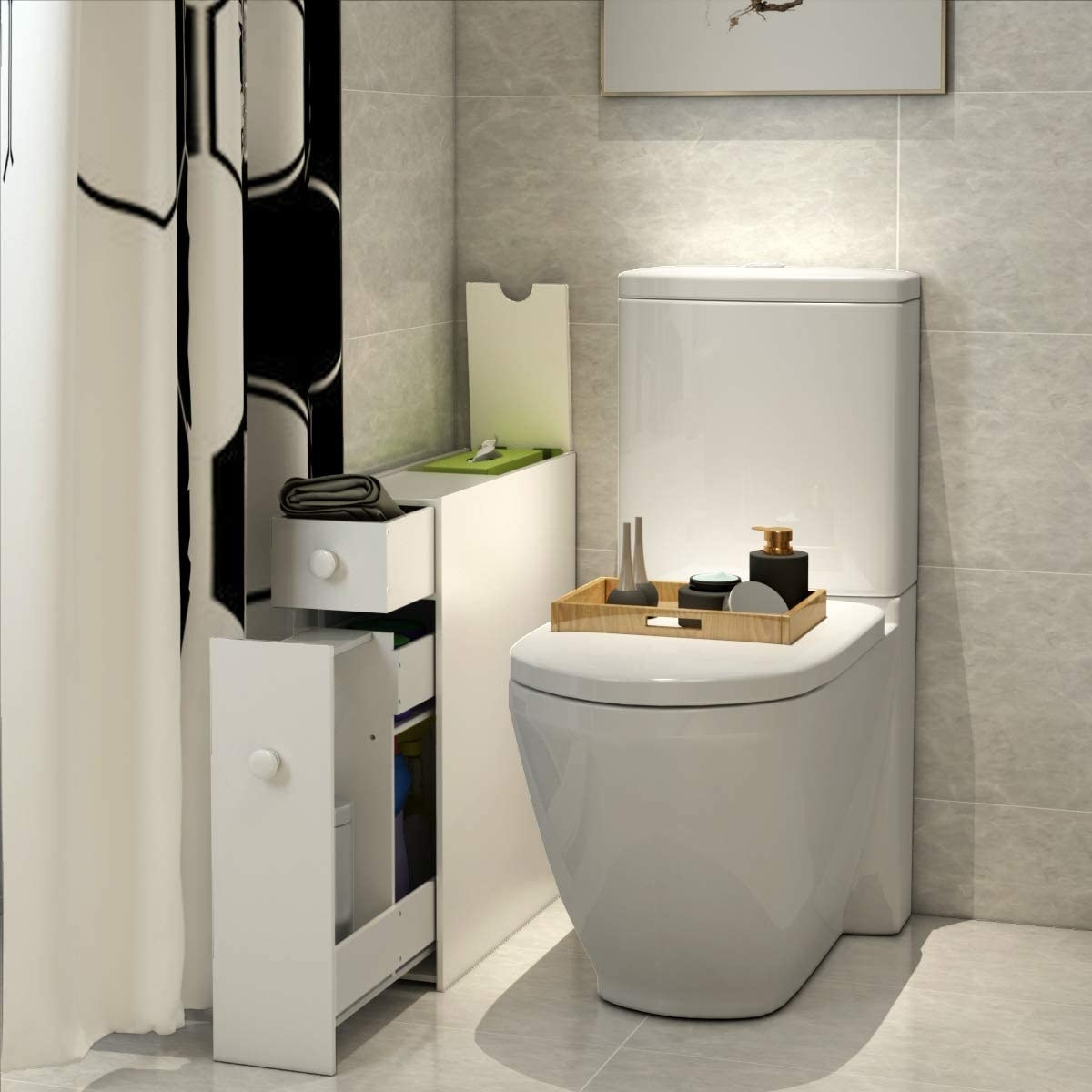 the slim cabinet beside a clean toilet