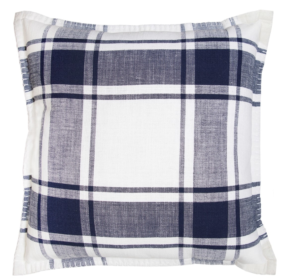 blue and white gingham pillow