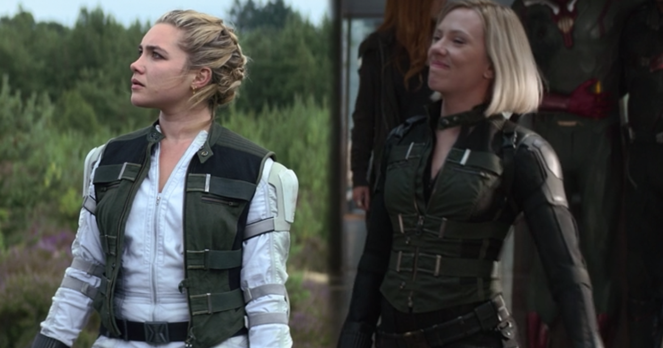 Yelena Belova stands with her head turned to the side and Natasha Romanoff smiles which causes her nose to scrunch up