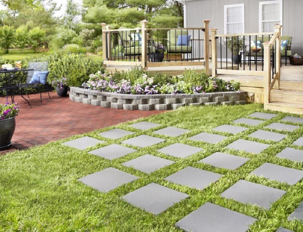 An image of gray patio stone pavers