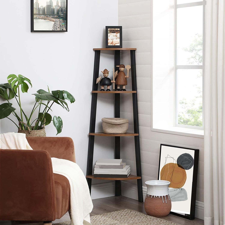 the corner ladder shelf in a living room beside a bright window