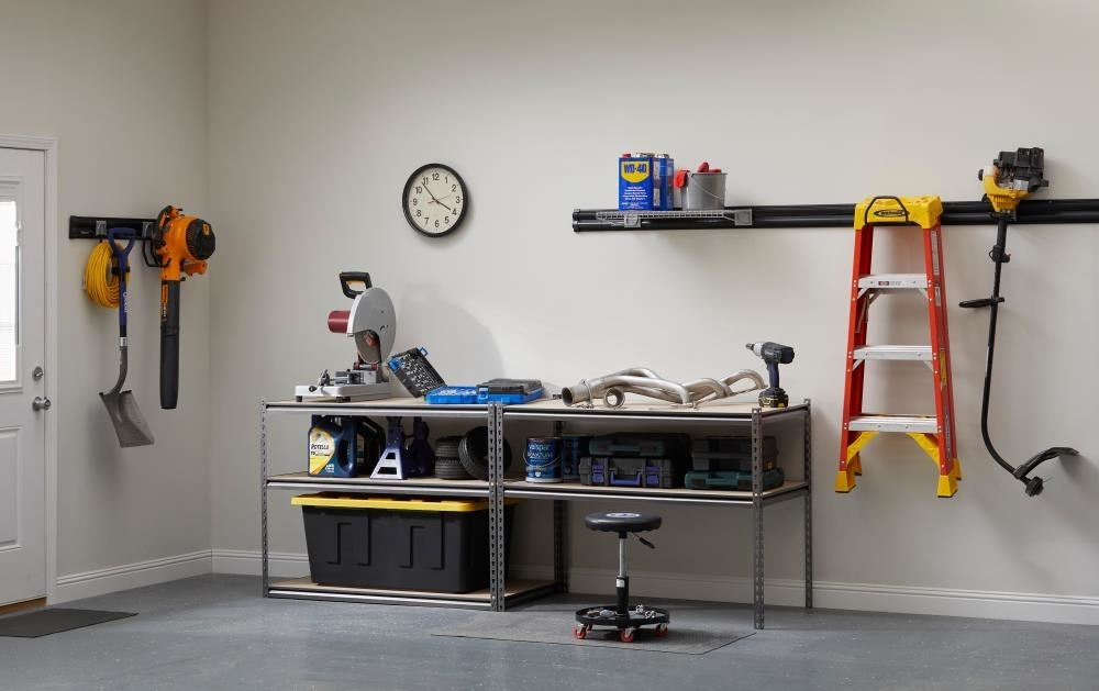 A five-tier steel utility shelf