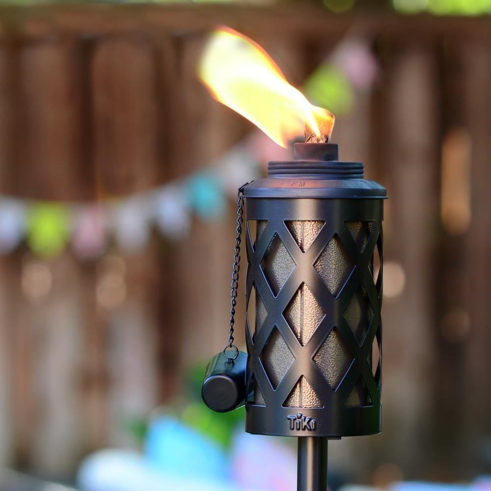 An image of a steel citronella garden torch