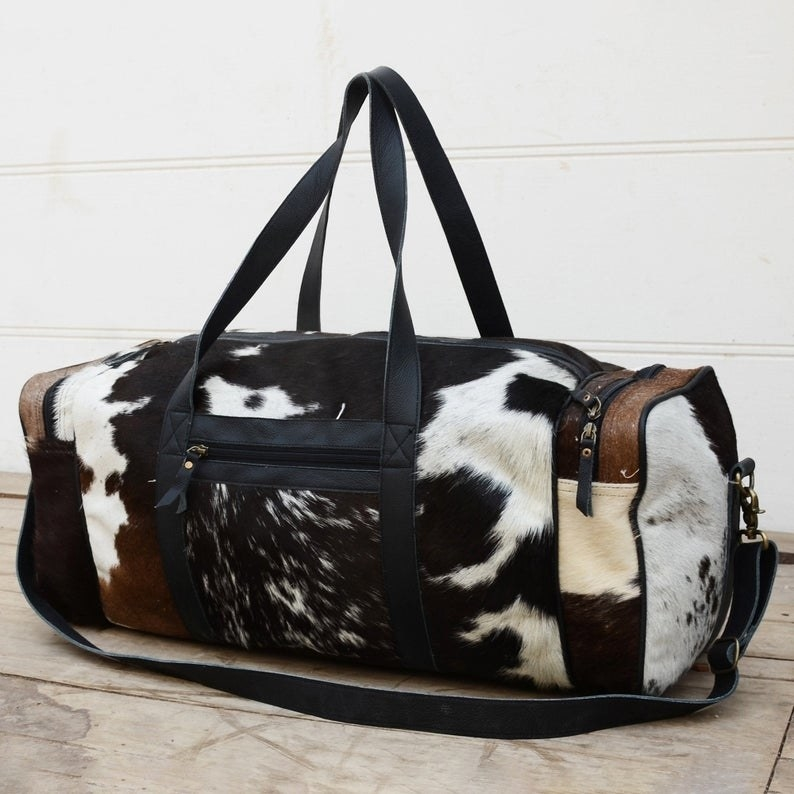 Large leather cowhide carry on bag