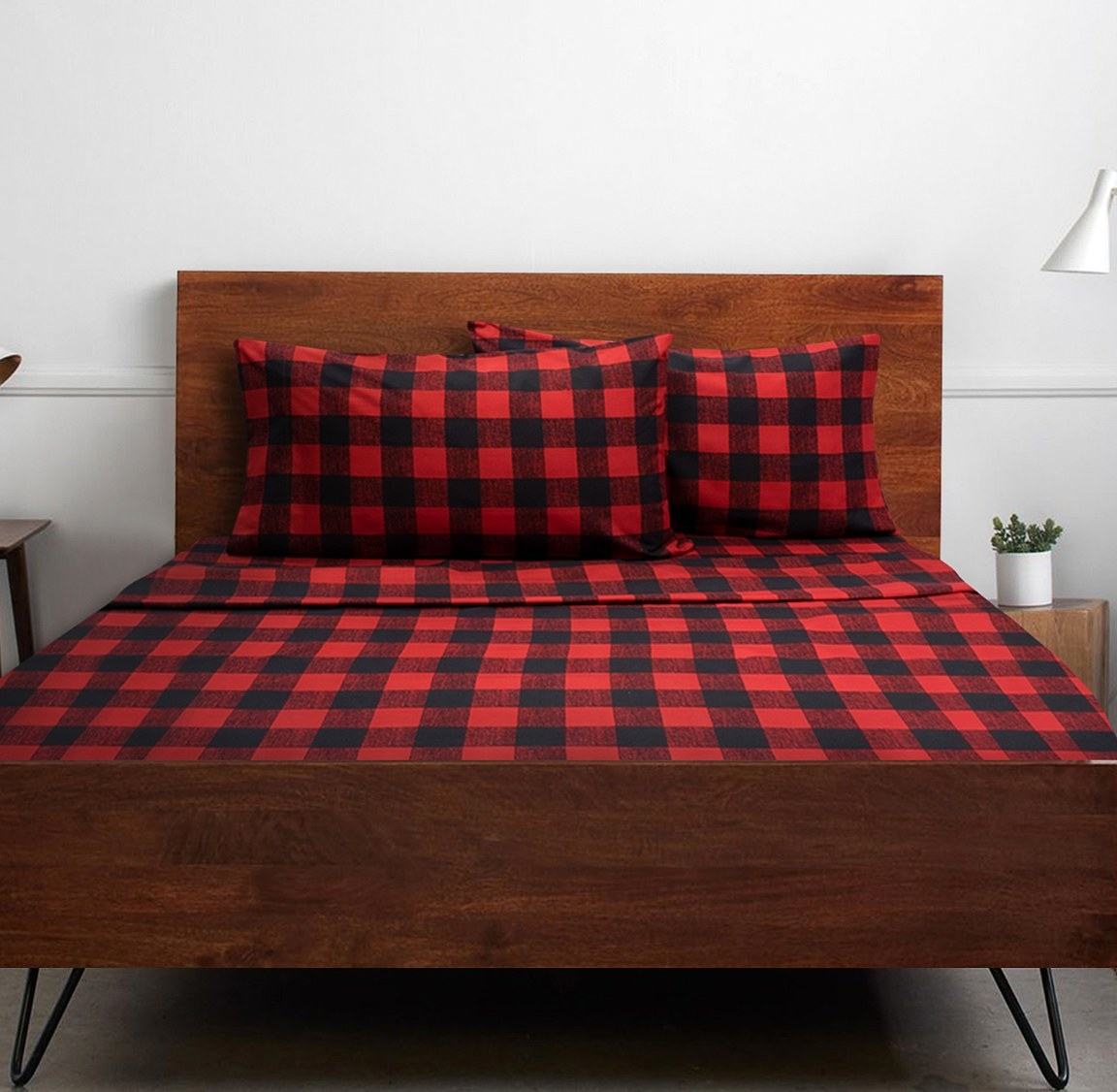 the red and black checked sheets
